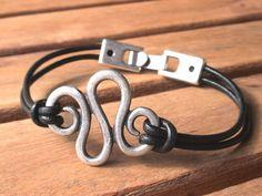 unisex men women leather bracelet spiral design with by kekugi