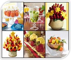 Beautiful Fresh fruit centerpieces are a great alternative! Seasonal fruit can be arranged in a variety of containers and designs and edible centerpieces are a huge hit at wedding receptions this year!