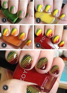 Easy Nail Art Designs For Everyone – Easyday Chevron Manicure, Chevron Nail Designs, Simple Nail Art Designs, Easy Nail Art, Hair And Nails, My Nails, Crazy Nails, Jamberry Nails, Rasta Nails