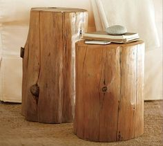 Nice Wood Accent Table White Stump
