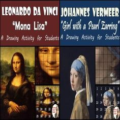 """Mona Lisa & Girl with a Pearl Earring.  Leonardo da Vinci's """"Mona Lisa"""" is easily one of the most recognized paintings in the world.  Equally important is Vermeer's """"Girl with a Pearl Earring,"""" which is known as """"The Dutch Mona Lisa"""" making this bundle of painting recreations one that your students will love seeing come together!"""