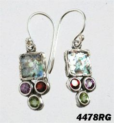 """Roman glass #""""roman glass"""" silver #earrings #bluenoemi 65 USD http://www.bluenoemi-jewelry.com/roman-glass-earrings-garnet-peridot.html"""