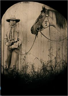 Photographed by Robb Kendrick. Photographed by Robb Kendrick. Fascinating article at this link, at least I think so, as the picture isn't as old as it looks. If you like photography &/or art it is worth your time. Cowboy Horse, Cowboy And Cowgirl, Riding Cowgirl, Tintype Photos, Real Cowboys, Western Art, Western Decor, Ranch Life, Mountain Man