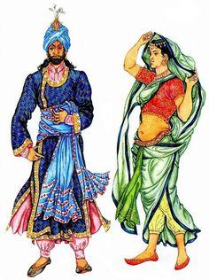 на мужчине: вышитая рубаха, кафтан и шаровары, шелковый шарф и чалма на женщине: сари, чоли, пояс, украшенный шалью