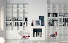 Contemporary uilt in book shelf ideas