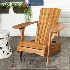 Safavieh Outdoor Living Mopani Adirondack Natural Acacia Wood Chair - at - 015