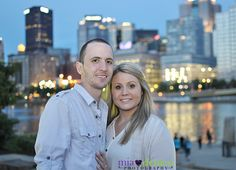 Engagement pictures in downtown Pittsburgh. North shore. City lights.  PNC park  by Mia DeMeo Photography