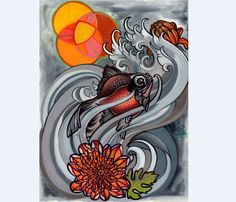 chubby goldfish painting, koi tattoo art, watercolor from anji marth for $100 on Square Market