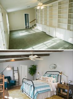 Yellow carpet w/blue colors and grey walls-wood table-Fixer Upper | Season 3 Episode 15 | The Baby Blue House