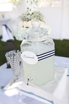 Lemonade with hand calligraphed label & ribbon. 4th of July wedding, Cape Cod