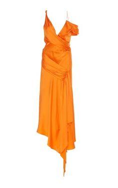 Get inspired and discover Jonathan Simkhai trunkshow! Shop the latest Jonathan Simkhai collection at Moda Operandi. Satin Midi Dress, Satin Gown, Silk Satin, Drape Gowns, Jonathan Simkhai, Asymmetrical Dress, Silk Chiffon, Pretty Dresses, Beautiful Dresses