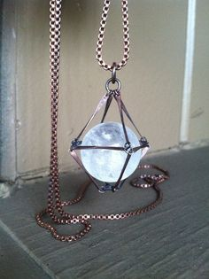 20 mm clear quartz crystal encased in copper. Slips easily over the head. Handmade in NY. ☽☯☾magickbohemian