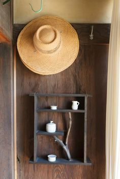 shelf and a hat