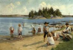Children playing on the beach 1894 - Nina Ahlstedt (Finnish, 1853-1907)