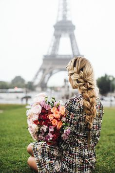 yes braid. yes flowers. yes eiffel tower.