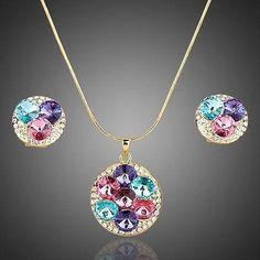 Multi Color Round Crystals Stud Earrings + Pendant Necklace Set #rings #jewelry #necklace #earrings #women #khaista #fashion #womensfashion #dresses