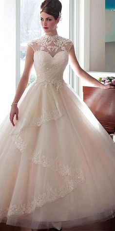 Elegant Tulle High Collar Ball Gown Wedding Dress With Beaded Lace Appliques & Detachable Jacket #weddingdress