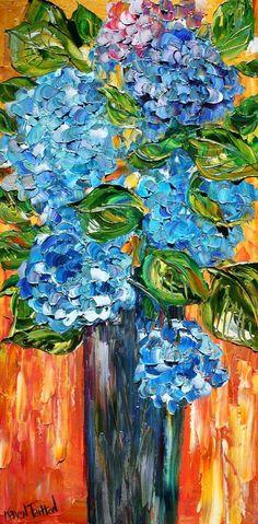 floralart.quenalbertini: Blue Hydran-geas   Karen's Fineart on Etsy