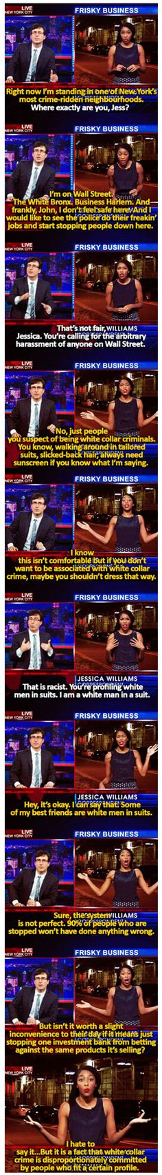 The Daily Show | John Oliver and Jessica Williams show how 'stop & frisk' is racist.