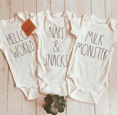 Brand New Set of 3 Gender Neutral Hello World Newborn Onesies, Newborn Outfits, Baby Boy Outfits, Boy Newborn, Baby Shirts, Funny Baby Boy Onesies, Gender Neutral Baby Clothes, Baby Kids Clothes, Baby Boutique