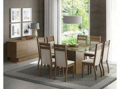 Conjunto de Mesa com 8 Cadeiras Louise - Madesa