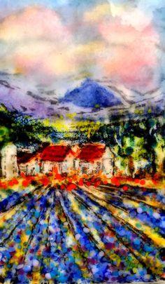 Lavendar fields mountains Kristen Dukat art glass  print