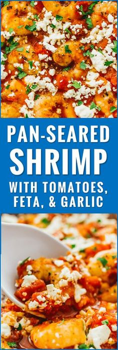This pan seared shrimp skillet is sauteed with butter and a sauce with diced tomatoes, crumbled feta cheese, and minced garlic. So easy and crazy good! recipes, healthy, dinner, garlic, sauteed, fried, stir fry, appetizers, sauce, spicy, easy, dishes, meals, how to cook shrimp, blackened, bowl, greek, stirfry,