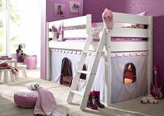 Massivholz Hochbett Spielbett mit Vorhang Girl Buche massiv weiß lackiert