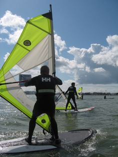 Up and going into the sailing position.  A beginners windsurfing course in full action!  #poolewindsurfing #windsurfinglessons #pooleharbour