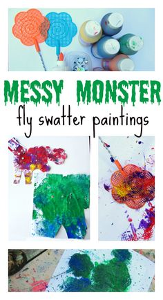 Make monsters by splattering paint with a fly swatter. Cute Halloween art project.