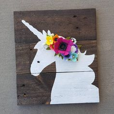 Unicorn Sign with Lularoe colored felt flowerts