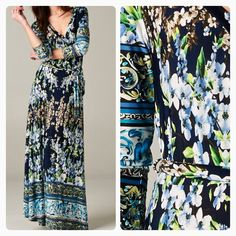 Navy & Green Floral Maxi Faux Wrap Dress  Now at Shannasthreads.com