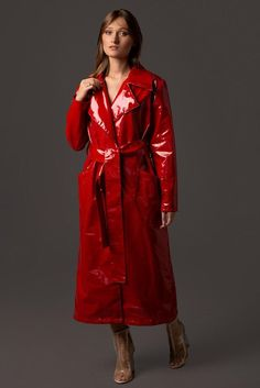 Excited to share this item from my shop: Ladies Stylish Vegan Leather Trench Coat. Waterproof and wind resistant. Patent Trench Coats, Red Trench Coat, Leather Trench Coat, Leather Jacket, Red Raincoat, Vinyl Raincoat, Plastic Raincoat, Party Kleidung, Vinyls