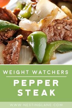 Weight Watchers Slow Cooker Pepper Steak Recipe with lean sirloin beef, beef bouillon, stewed tomatoes, soy sauce, onion, and bell pepper. An easy and healthy Chinese dinner with 5 WW Freestyle Points and 6 SmartPoints. MyWW Points: 5 Blue Plan and 6 Green Plan Weight Watchers Slow Cooker Recipe, Weight Watchers Meal Plans, Weight Watchers Diet, Weight Watcher Dinners, Weight Watchers Pepper Steak Recipe, Ww Recipes, Cooking Recipes, Healthy Recipes, Dinner Recipes