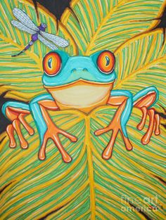 Red eyed tree frog and dragonfly Drawing  - Red eyed tree frog and dragonfly Fine Art Print