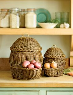 Potato and Onion Storage Baskets $49.95 set of 2 from gardeners.com