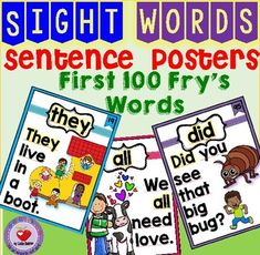 I created these sentences using the First 100 Words to give students the opportunity to recognize sight words in context. This helps increase understanding, acquisition and fluency.The sentence cards have many uses: You can use them to introduce the word whole class or in small groups and later on display them on the wall for future reference, you can bind the cards to create a Sight Word Book that you can place in a literacy center or class library (or put the cards into sheet protectors…