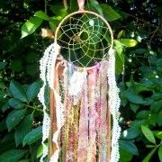 Boho dreamcatcher with vintage lace and ribbon. BriarsWickedWishes - Craft Cafe