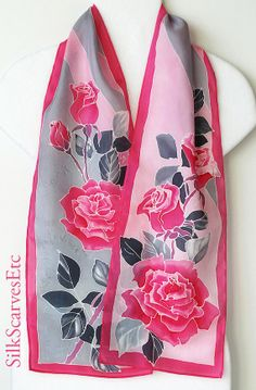 Pink floral silk scarf. Hand painted pink gray by SilkScarvesEtc, $58.00