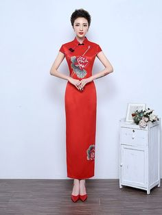 Split Ankle-Length Qipao / Cheongsam Wedding Dress in Lotus Print