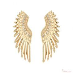Brinco asas grandes cravejado com zircônias brancas folheado em ouro 18k