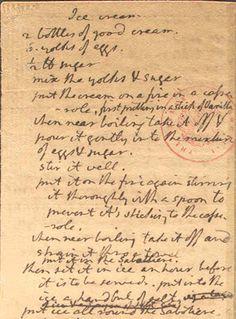 Thomas Jefferson's personal recipe for vanilla ice cream. circa 1780