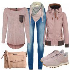 Freizeit Outfits: Naketano Jacke, Langarmshirt und Nike Sneaker <3 #naketano#jacke#freizeit#rosa#sneaker#liebe#alltag#outfits