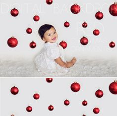 Before and after of MBP's Red Christmas Ornaments Digital Photography Backdrop. Red Christmas Ornaments, Christmas Minis, Christmas Shirts, Christmas Wreaths, Christmas Background, Christmas Wallpaper, Picture Backdrops, Christmas Backdrops, Christmas Portraits