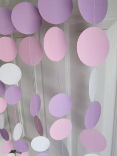 Paper Garland,  White, Pink, and Purple Circles Dangling Decorations, Baby Shower Decorations, Birthday, Wedding, Showers