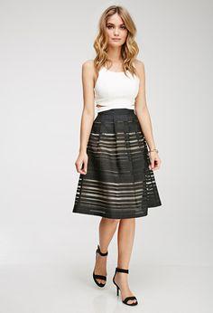 Love this skirt! Ornate Organza-Striped Skirt | LOVE21 - 2000080127