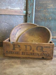 Antique Fingerjointed Box Pdq Shoe Blacking
