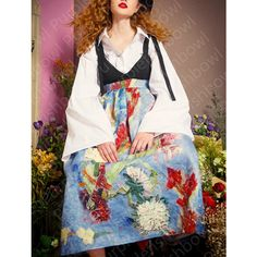 Fineart Collection Van Gogh Painting White Sketch Huge Lantern Sleeve... (£72) ❤ liked on Polyvore featuring tops, cuff shirts, vintage tops, cuff sleeve shirt, sleeve shirt and white shirt