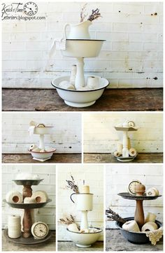 Vintage the best way to make a tiered stand, crafts, repurposing upcycling - I've seen quite a few tutorials for making tiered stands, but most of them involve gluing pieces together, which doesn't make a very sturdy stand. Recycled Decor, Repurposed Items, Home Crafts, Diy Home Decor, Diy Crafts, Thrifty Decor, Upcycled Crafts, Thrift Store Crafts, Thrift Stores
