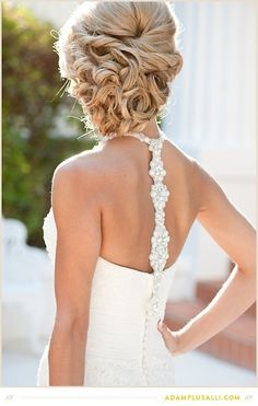 Gorgeous hair and Maggie Sottero gown back. Photographed by Adam Plus Alli.